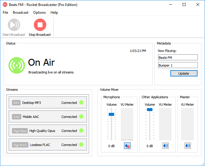 Rocket Broadcaster is compatible with Centova Cast if you have Icecast2 or SHOUTcast (1 or 2) hosting. For most online radio hosting, it'll work.